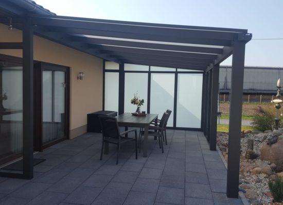 Terrassendach mit Seitenwand VSG Matt, Opalglas, Schallschutz, Bersteland Frankfurt/ Oder