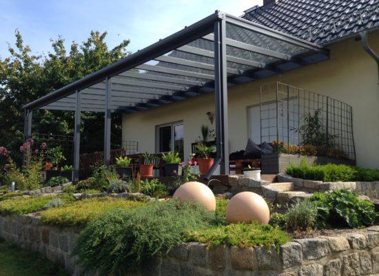 Terrassenüberdachung Glas & Aluminium, Dachsparrenmontage