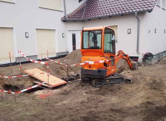 Beginn der Baustelle, Terrassenbau in Cottbus.