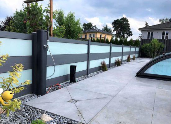 Hochwertiger ALU-Glas-Zaun, Sicherheitsglas Matt, Sichtschutz