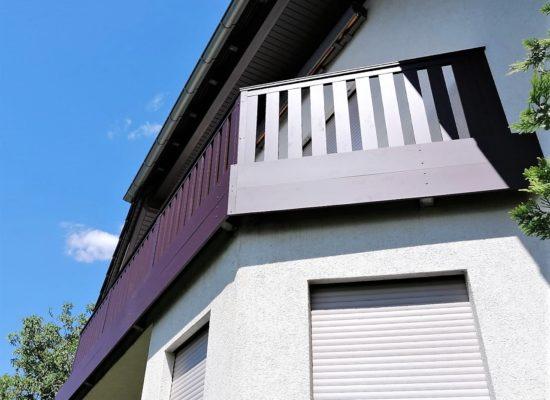 Alu-Geländer Balkon mit Sichtblende Halter, maßgefertigt