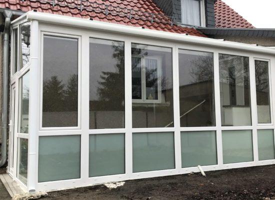 Vorbau, Laube aus Kunststoff-Wintergarten, Glas, isoliert, mit LED-Spots