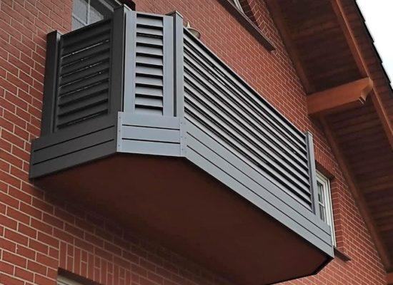 ALU-Balkon mit schrägen Ecken, 45Grad, Sichtblende