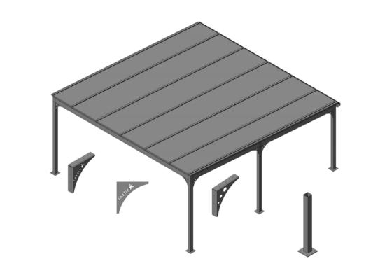 Technische Zeichnung Doppel-Carport aus Aluminium